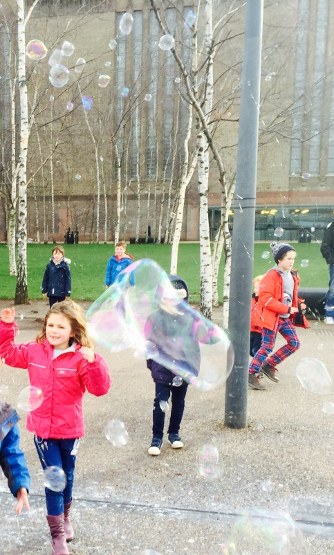 Impromptu bubble fun outside Tate Modern