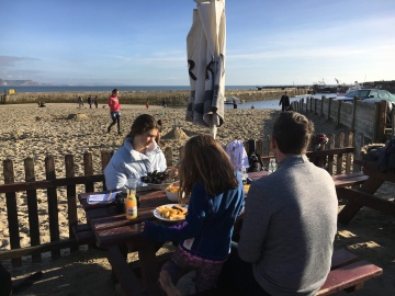 ... eating on the beach in December!
