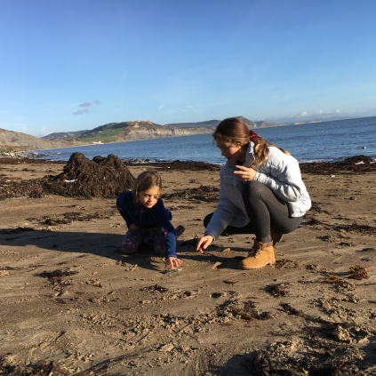 Fossil hunting on East Cliff beach