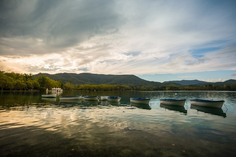 Banyoles-Lake-Catalonia-Boats-In-Evening-Light